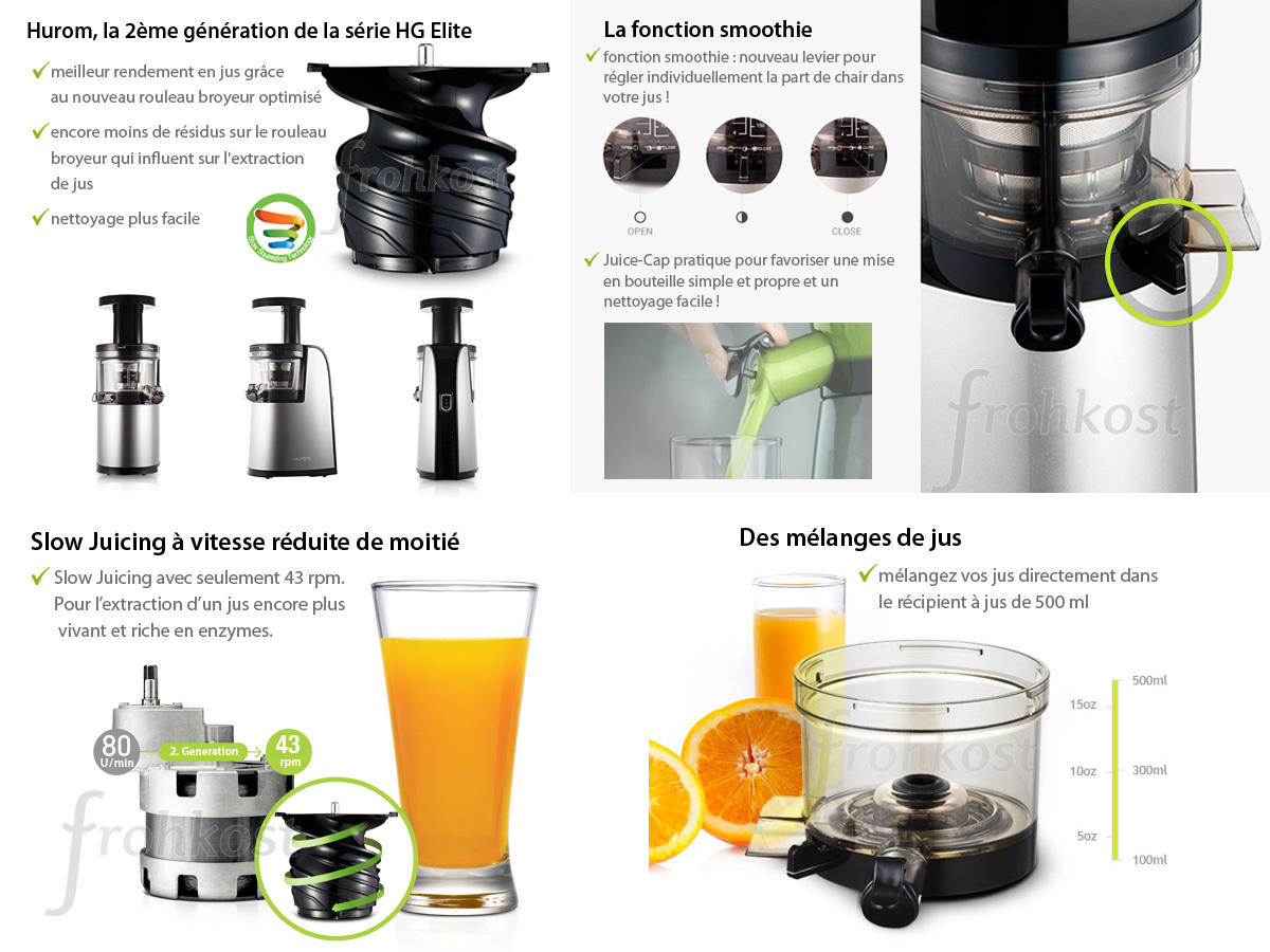 Hurom Slow Juicer 2nd Generation Test : Hurom HG Elite, 2eme gEnEration, inox